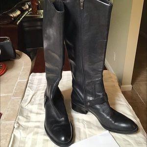 Via Spiga Black Leather Tall Boots 9.5M